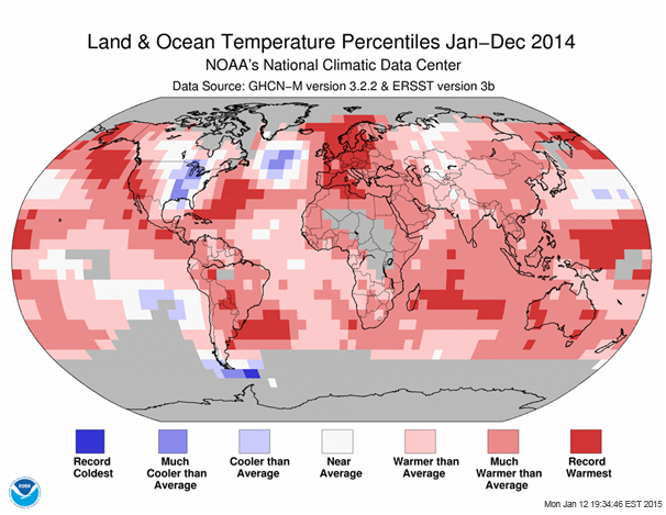 Land and Ocean Temperature Percentiles Jan - Dec 2014 from NOAA National Climatic Data Center